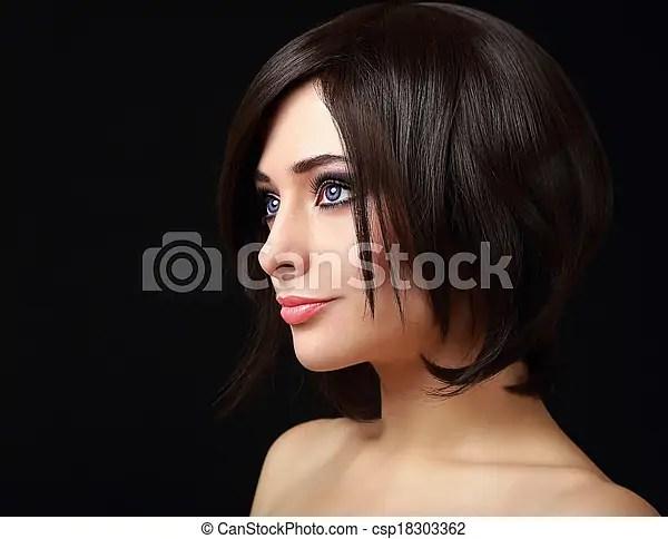 Profil Visage Femme Cheveux Court Noir Canstock