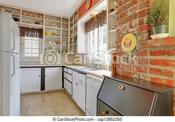 Vieux Simple Wall Brique Blanche Cuisine Canstock