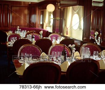 Stock Photo - empty dining room  on ship. fotosearch  - search stock  photos, pictures,  images, and photo  clipart