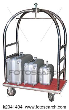 Stock Photo - three similiar  suitcases on hotel  baggage cart isolated.  fotosearch - search  stock photos,  pictures, images,  and photo clipart
