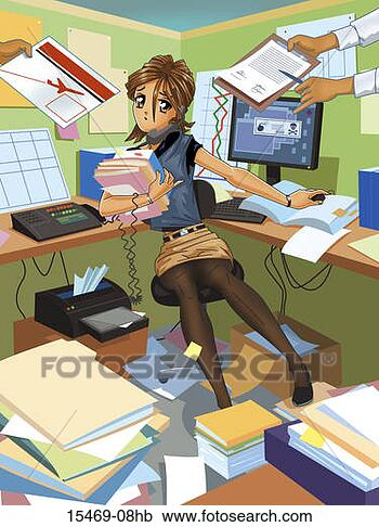 Stock Illustration - busy woman in  office being handed  more work. fotosearch  - search clipart,  illustration posters,  drawings and vector  eps graphics images