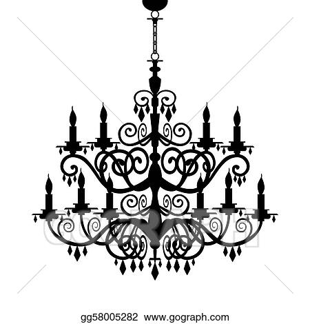 Baroque Decorative Chandelier Silhouette Isolated On White Full Scalable Vector Graphic Included Eps V8 And 300 Dpi Jpg Stock Clip Art Gg58005282