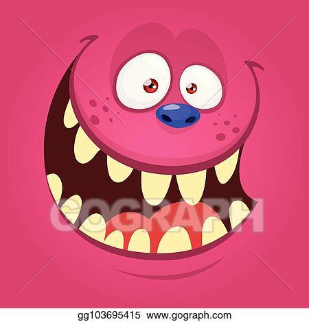 Vector Art Cartoon Monster Face Isolated Vector Halloween Pink