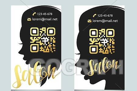 Vector Art   Design template business card for beauty salon with qr     Design Template business card for beauty salon with qr code