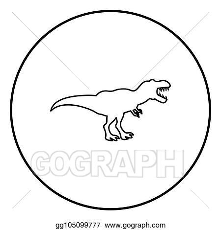 Vector Illustration Dinosaur Tyrannosaurus T Rex Icon Black Color In Circle Round Stock Clip Art Gg105099777 Gograph