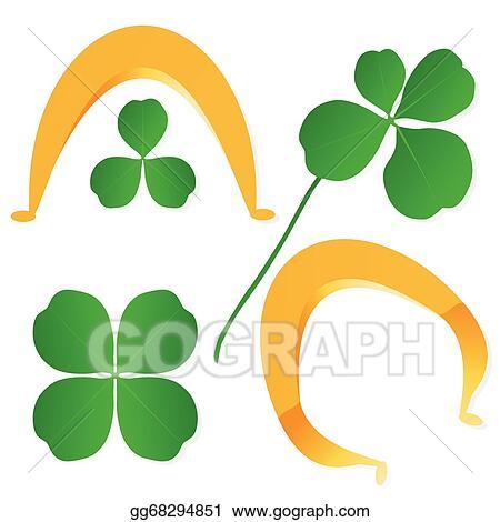 Vector Art Four Leaf Clover Shamrock Luck Vector And Gold Horseshoe Background Set Eps Clipart Gg68294851 Gograph