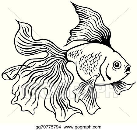 Eps Vector Goldfish Black White Stock Clipart Illustration Gg70775794 Gograph