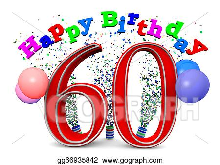 Drawing Happy 60th Birthday Clipart Drawing Gg66935842 Gograph