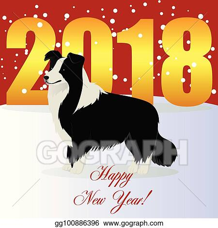 Vector Clipart   Happy new year card with border collie  Vector     Happy new year card with Border collie