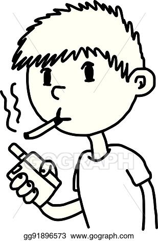 Vector Illustration Little Boy Smoking Cigarette Illustration