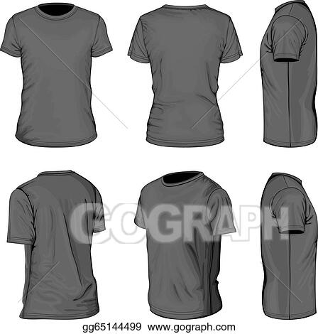 Vector Art Men S Black Short Sleeve T Shirt Design Templates Eps Clipart Gg65144499 Gograph