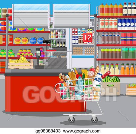 Eps Vector Supermarket Store Interior With Goods Stock Clipart Illustration Gg98388403 Gograph