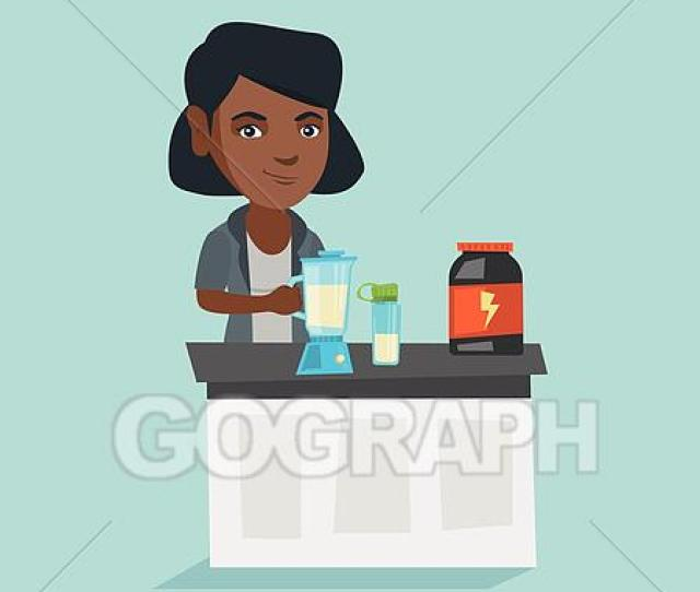 Young African Woman Making Protein Cocktail