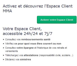 activez l'espace client mma