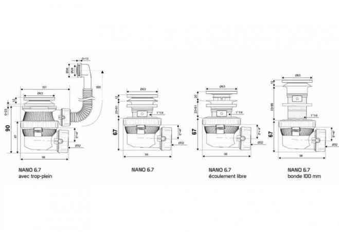 Bonde Et Siphon De Lavabo Ultra Compact Nano 6 7 De Chez Wirquin