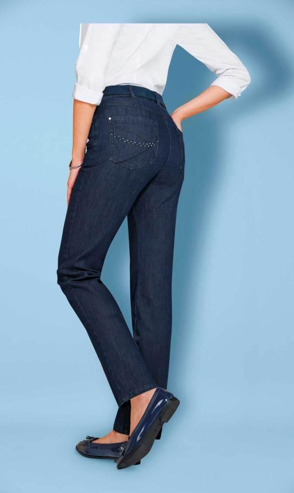 Le jean droit 5 poches extensible denim bleu