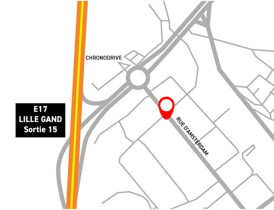 Plan d'accès au showroom 91 rue d'Amsterdam Bondues