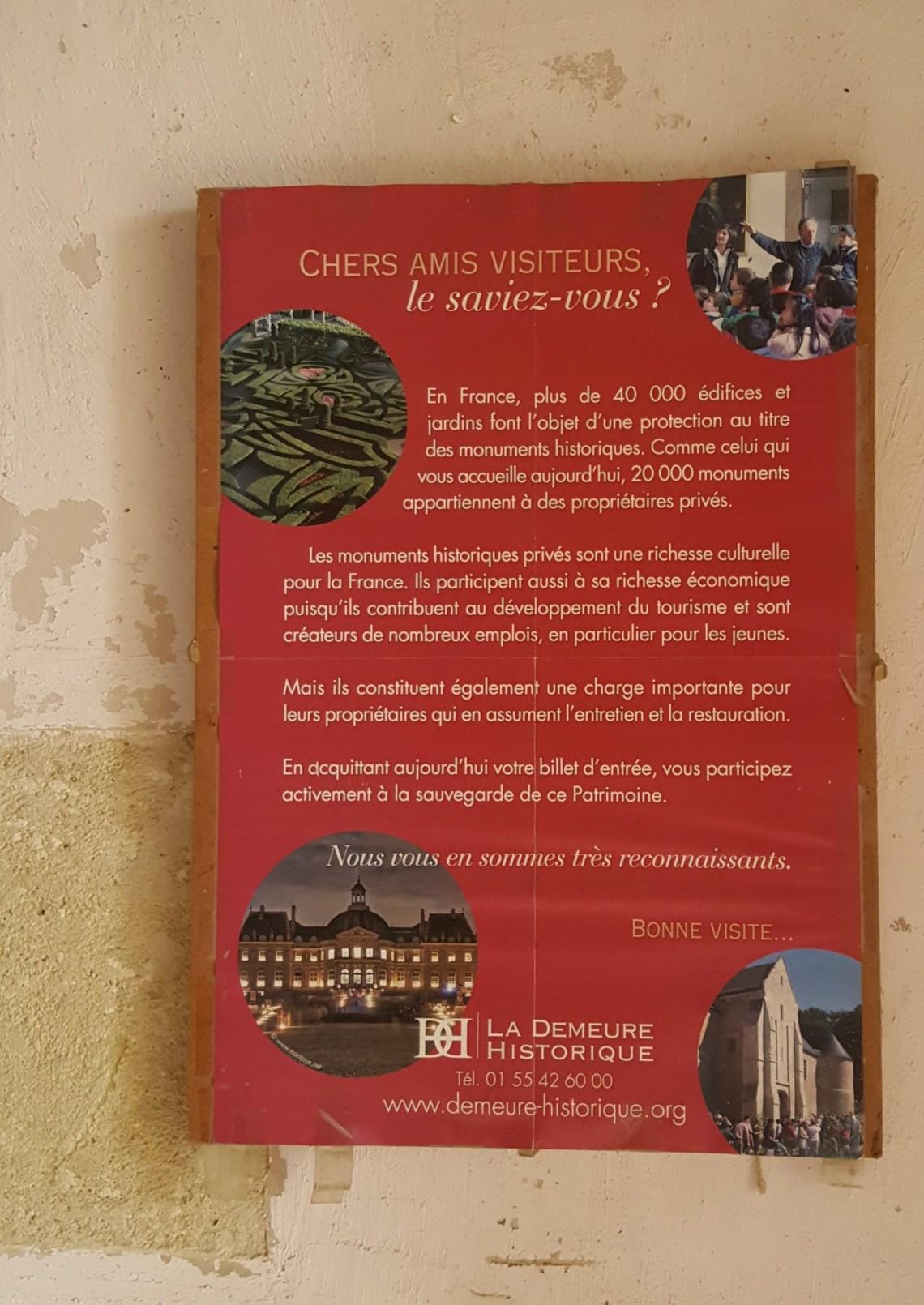 Le sens des monuments du patrimoine. Ici au château de Roquetaillade en Gironde. Photo A.Compain