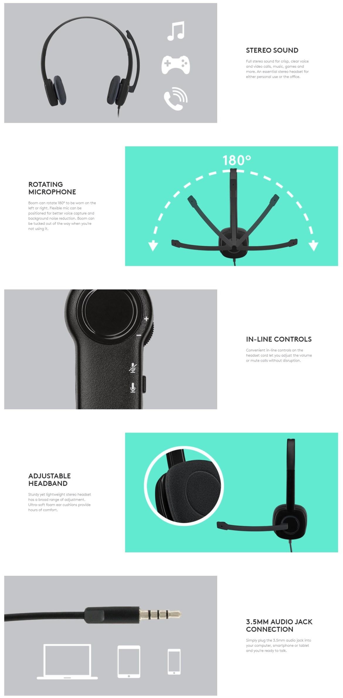 Logitech H151 Stereo Headset (Single Jack) - Black - Jopanda Market