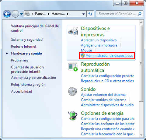 Administrador de dispositivos Windows 7