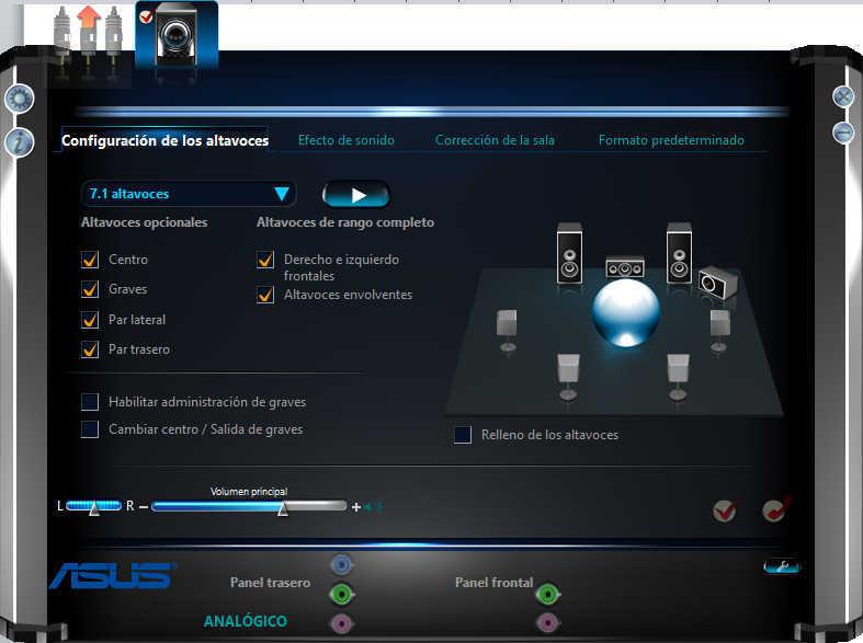 Interfaz de software de tarjeta de sonido