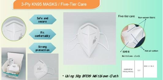 3-Ply KN95 PPE Safety Masks