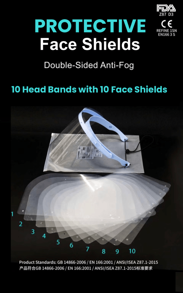 10 Protective face shields only $30.00