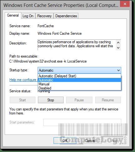 Windows Font Cache Service Properties