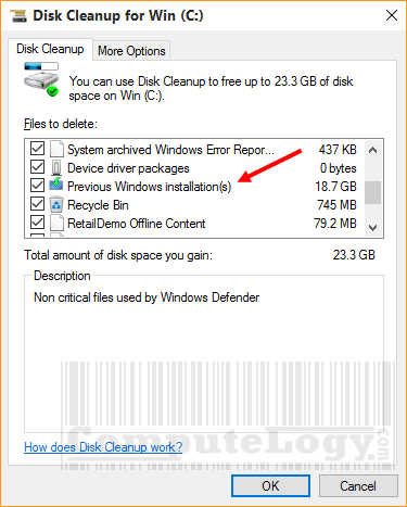 disk-cleanup-previous-windows-installation-delete-computelogy