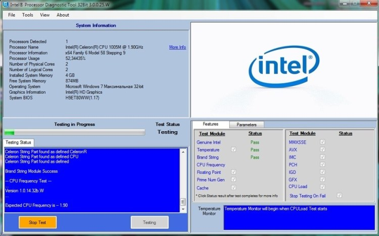 тест процессора intel