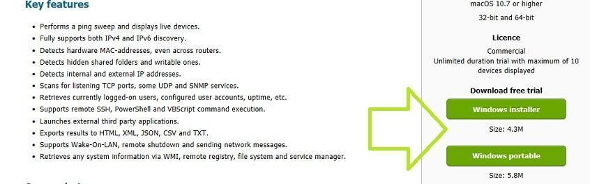 страница программы SoftPerfect Network Scanner