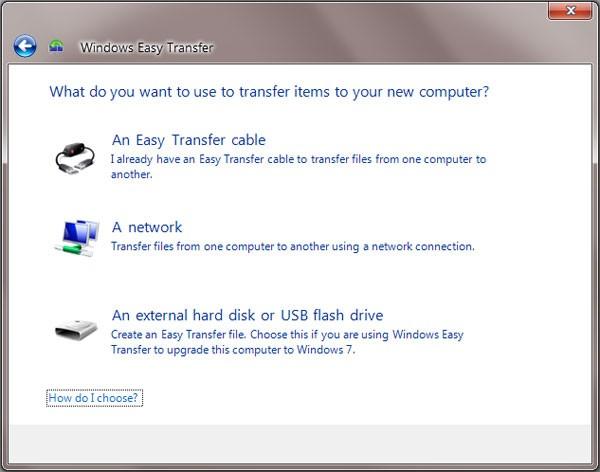 Windows Easy Transfer selection window