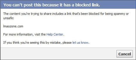 facebook url blocked message
