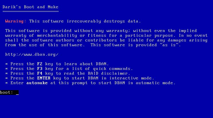 DBAN's boot screen