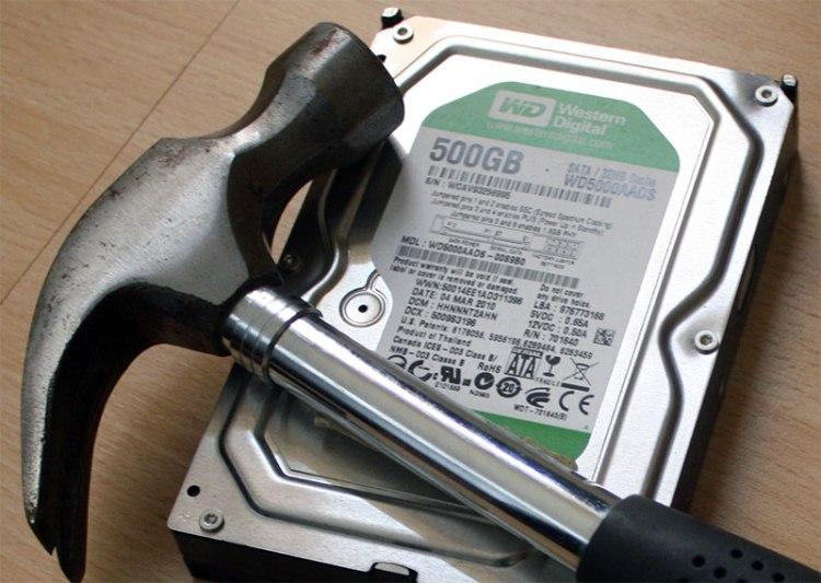 Hammer to smash a hard drive