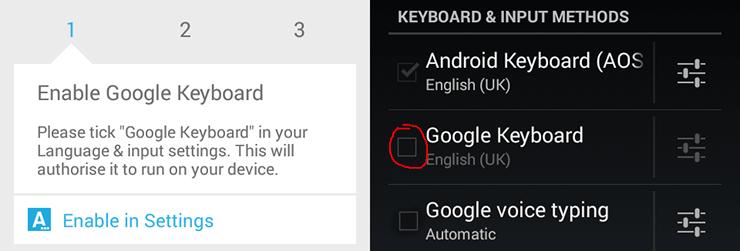 Enable Google Keyboard
