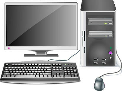 Desktop computer- with keyboard, mouse, monitor and system unit