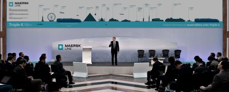 Maersk interior big banner poster display for triple-e launch graphic design