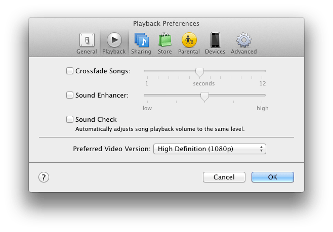 Panneau «Playback Preferences»