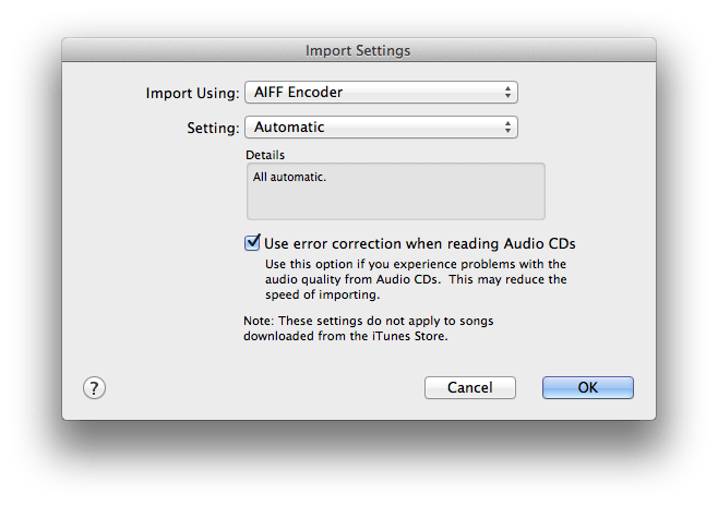 Preferences > General > Import Settings
