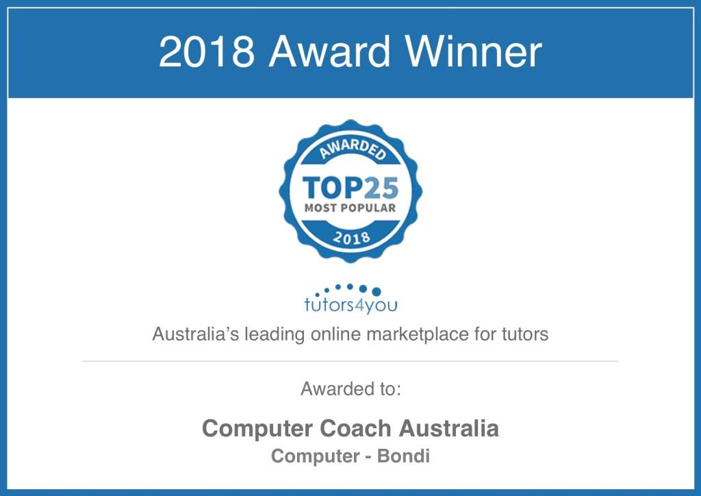 Tutor Computer Coach Australia award