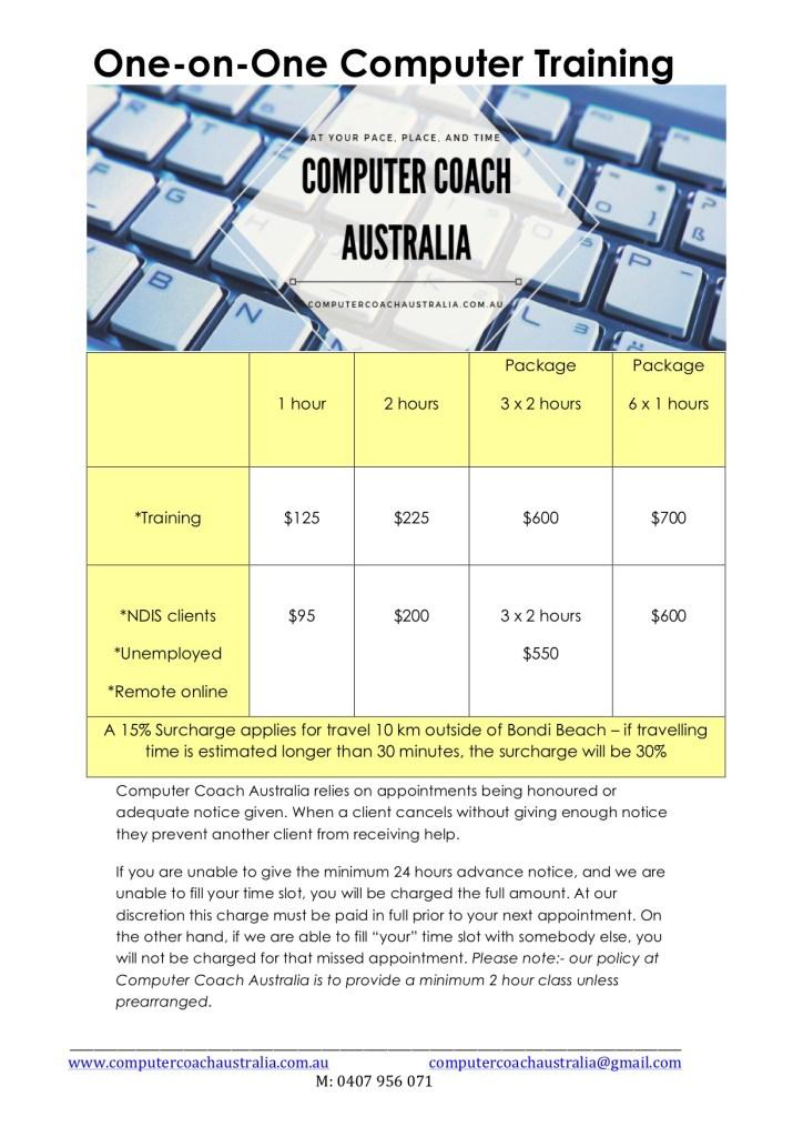 Computer Coach Australia fees
