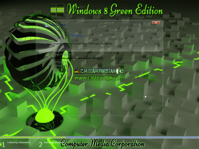 Windows 8 Green Edition 2017 By C.M Team Installation Screen