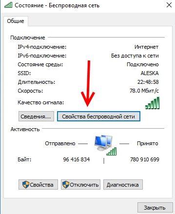 Propriétés de la connexion Wi-Fi active