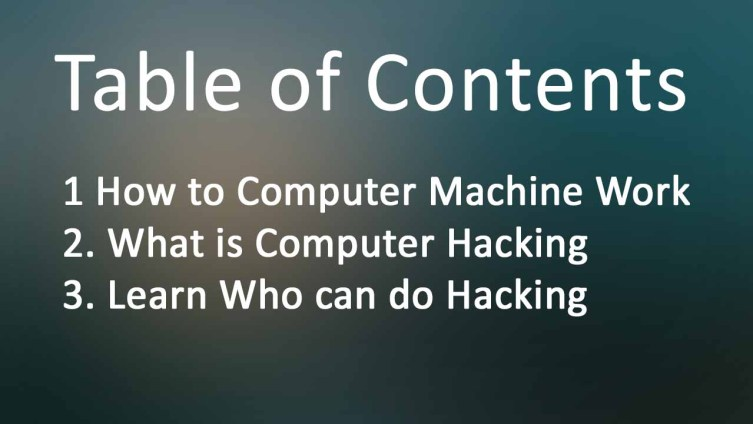 Table of contents for Computer Hacking