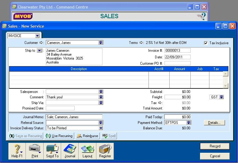 502102 sales screen in MYOB