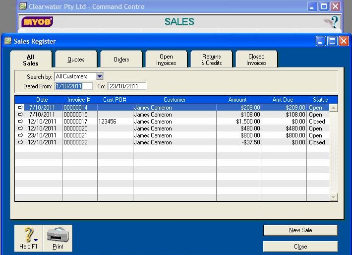 502201 Finding Sales Register in MYOB