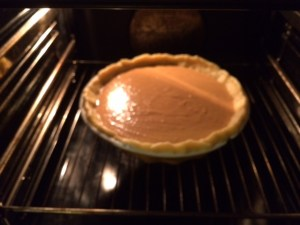 pumpkin pie in the oven