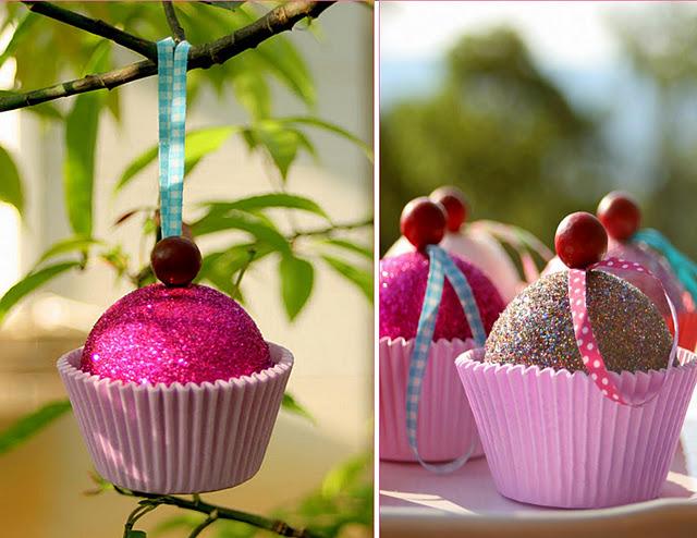 Enfeite de Natal de Cupcake
