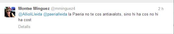 Twit Montse Minguez cos antiavalots